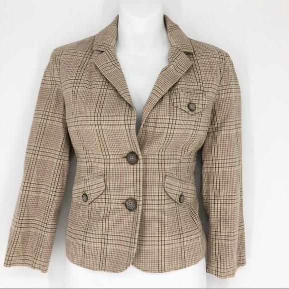 American Eagle Outfitters Jackets & Blazers - American Eagle Tan & Pink Plaid Blazer 3/4 Sleeve